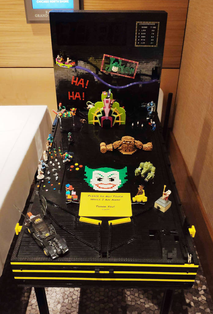 The Lego Batman pinball referenced in one of Friday's seminars was in the corridor near the Vendor Hall entrance