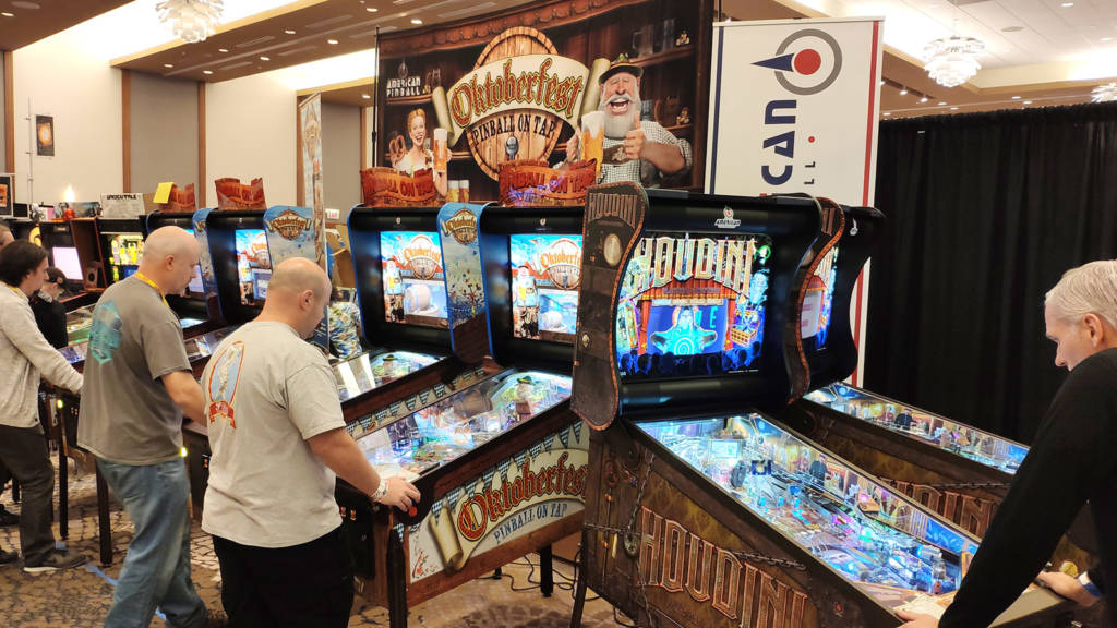 American Pinball were promoting their first two titles with four Oktoberfest and two Houdini machines