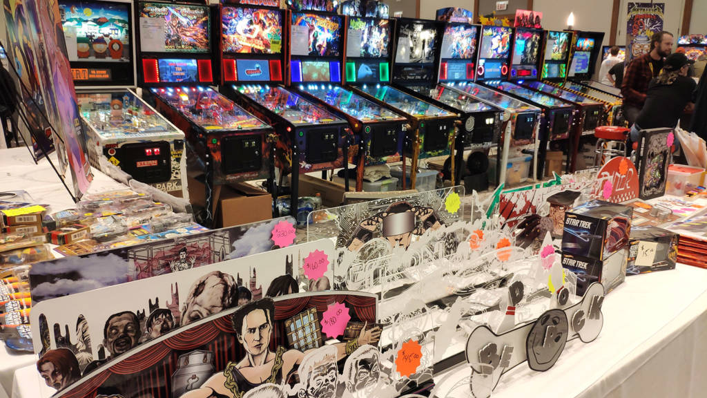 Great American Pinball had an impressive display of machines and merchandise