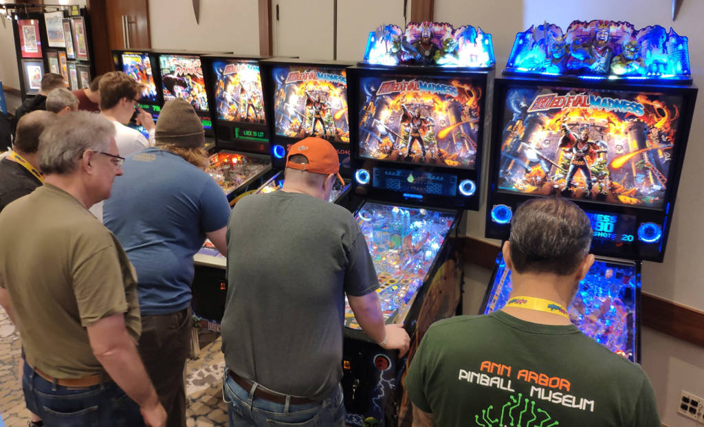 Chicago Gaming had a nice display of six remakes, including four new Medieval Madness machines