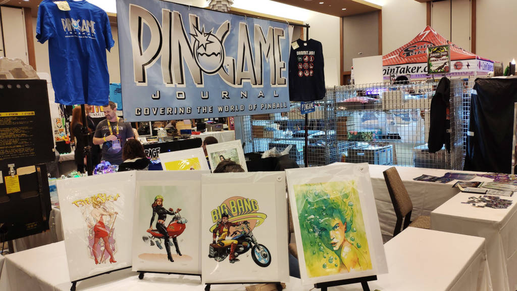 The PinGame Journal's stand was showing artwork by Stan Fukuoka