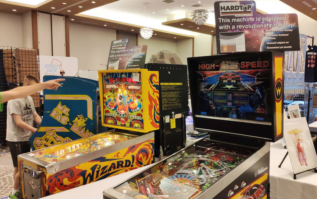Outside Edge's Hardtop playfield artwork system was being shown on Wizard! and High Speed