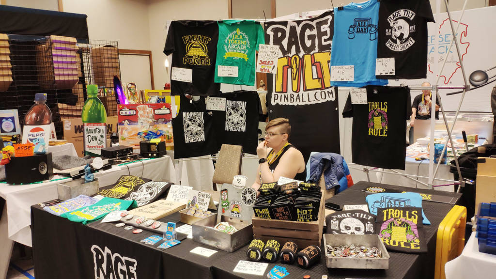Rage Tilt was selling assorted pinball apparel