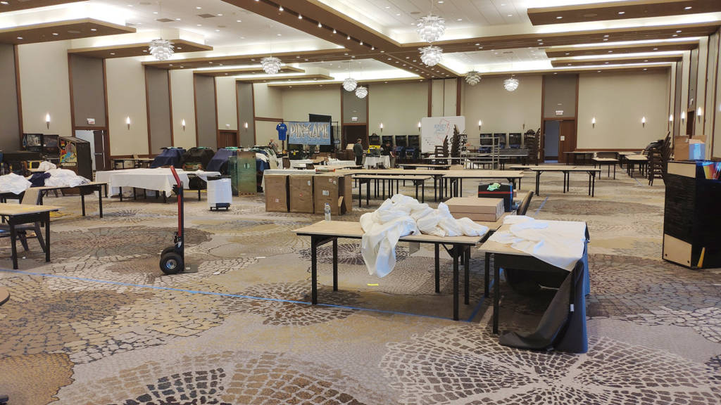 The remains of the displays in the Vendor Hall on Sunday