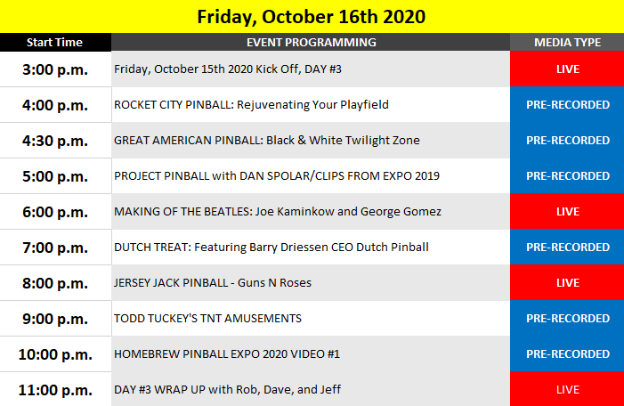 Friday's preliminary schedule of events