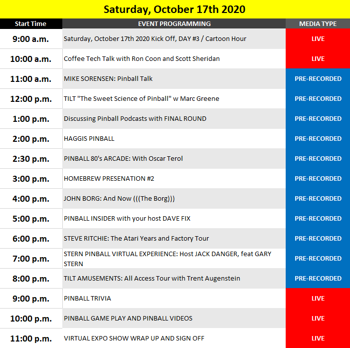 Saturday's preliminary schedule of events