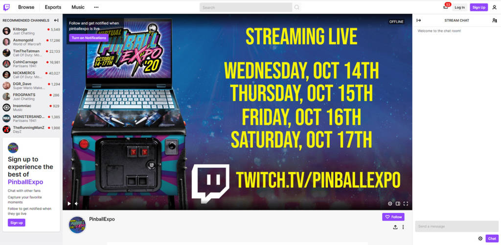 The Pinball Expo Twitch channel