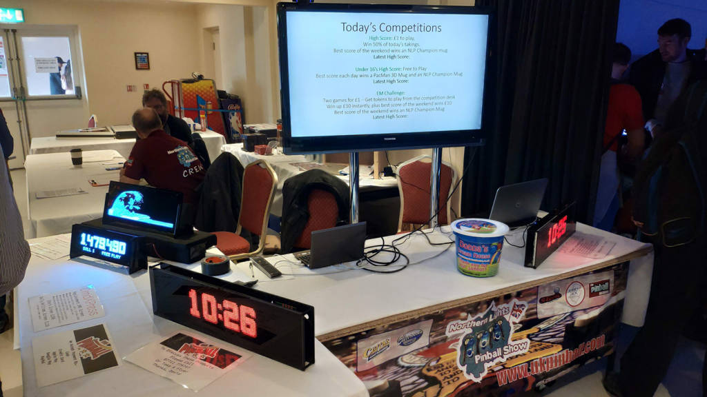 The organisers' desk held the keys and also had various LED displays for sale