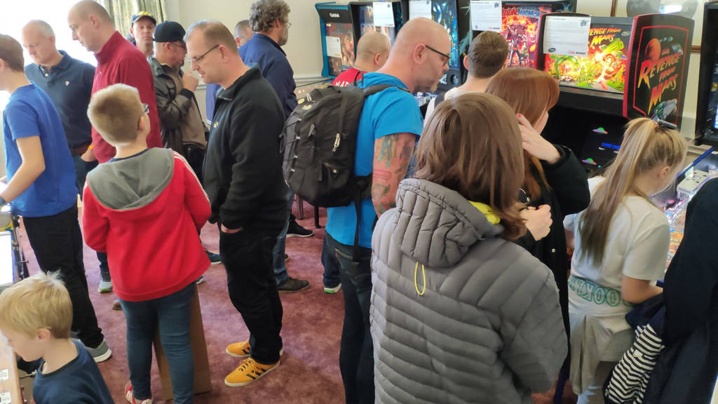 It was especially busy in the Pinball thru the Ages room