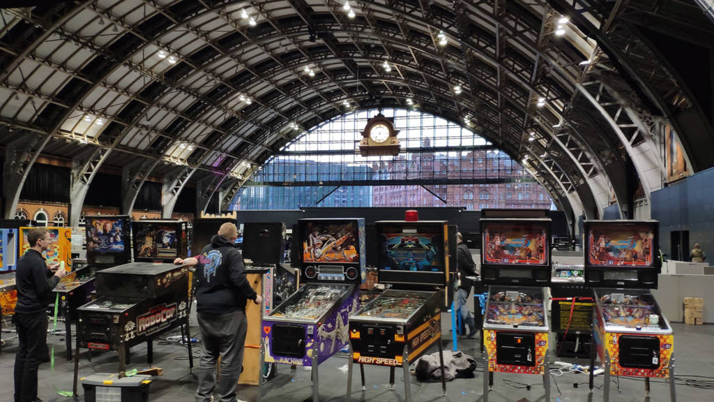Pinballs being set up for Play Expo 2019