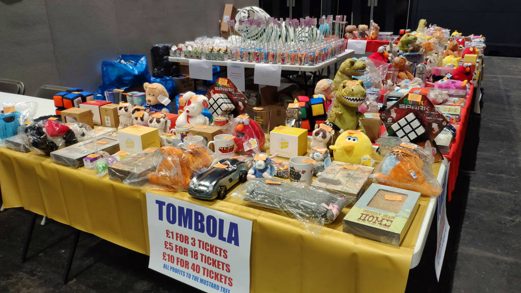 The tombola prize table
