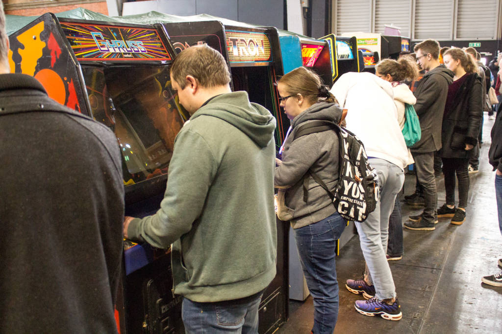 The arcade cabinets were as busy as the pinballs