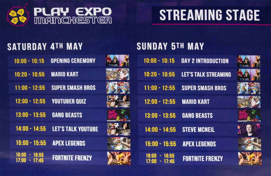 The streaming stage schedule of events