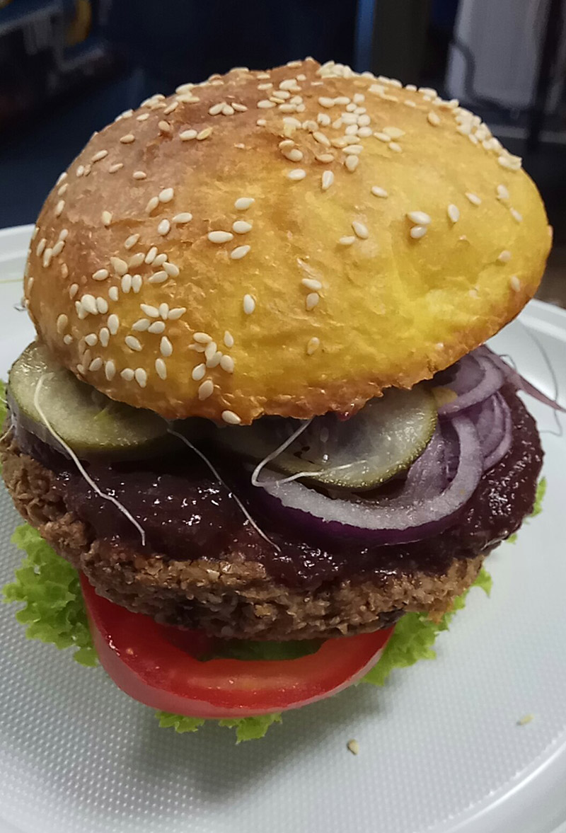 The vegan burgers from Mihiderka were as tasty as they looked