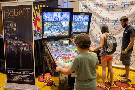 Two The Hobbits were on the Jersey Jack Pinball stand, with another one elsewhere in the hall