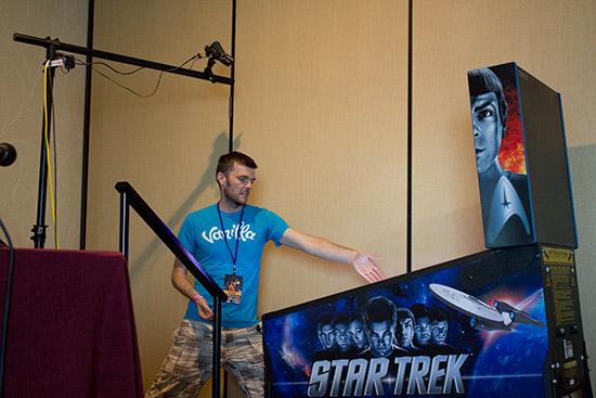 Ryan demonstrates his pinball skills