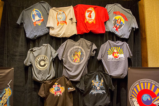 Some of the show T-shirts available
