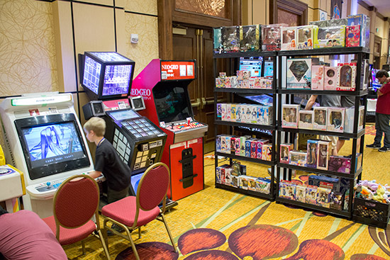 This stand sold Japanese figures and featured Japanese video games