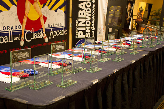 Trophies for the tournament winners and best-in-show machine owners