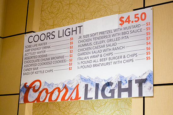 The menu and prices