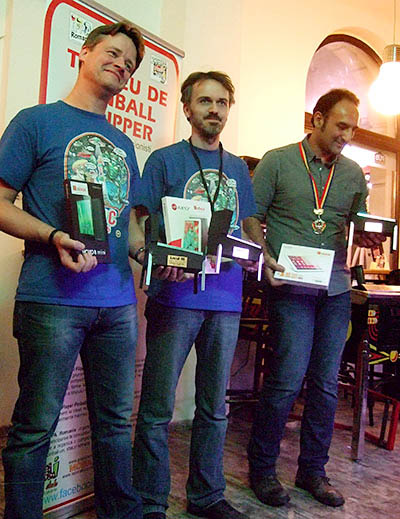 The top three in the Romanian Pinball Open 2015: Lieven Engelbeen (3rd), Ollivier Francq (1st) & Cesare D'atri (2nd)