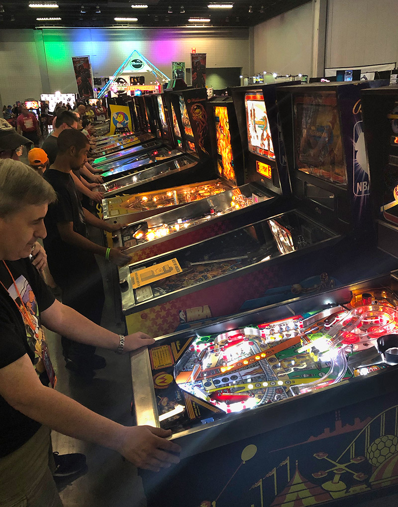 Some of the estimated 200 pinballs at the show