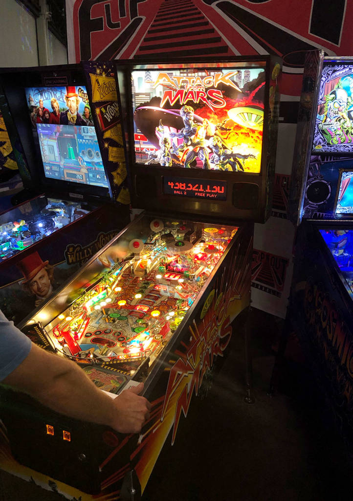 Just a couple of machines away, Jersey Jack Pinball's Willy Wonka & the Chocolate Factory was drawing crowds
