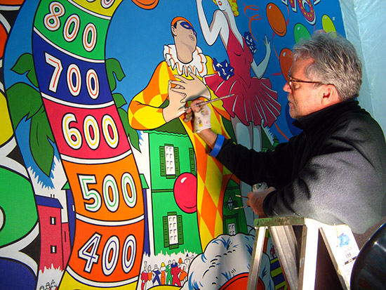 Artist Ed Cassel at work on his Williams Domino. PPM Archives