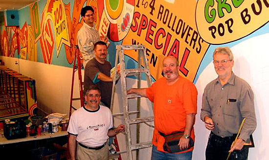 PPM wall mural with artists Ed Cassel, Dan Fontes, Eric Kos and PPM Board members David Volansky & Larry Zartarian. PPM Archives