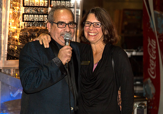 Master of Ceremonies, Auctioneer and community booster Chuck DiGuida appears with Alameda Mayor Trish Spencer Herrera