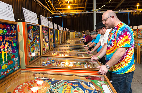 Five players enjoy themselves in the extensive woodrail section