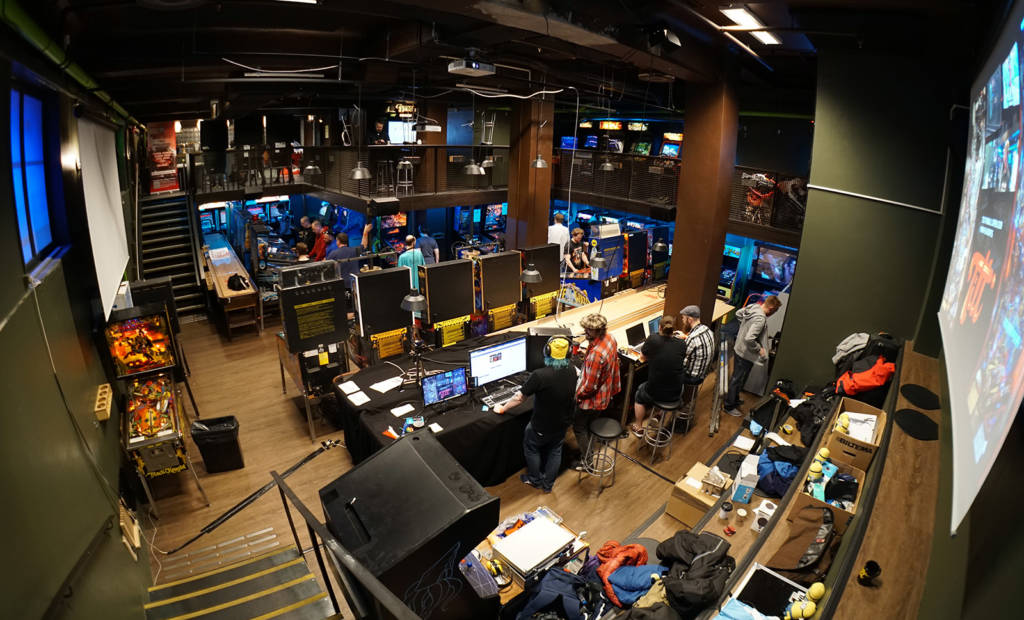 The bottom floor with the streaming setup and the TD desk in the foreground