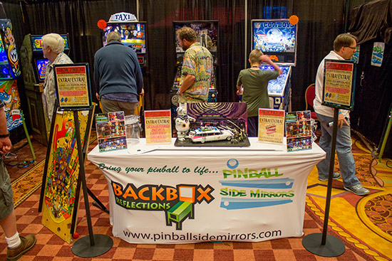 Pinball Side Mirrors had some demonstrator games to showcase their products
