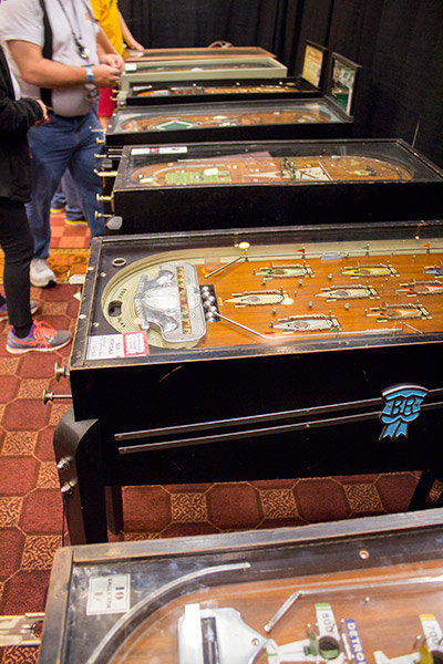 The History of Pinball exhibit featured an array of pre-flipper mechanical games