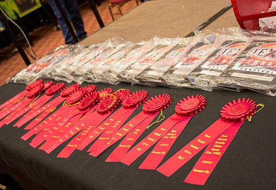 Plaques and rosettes for the winners