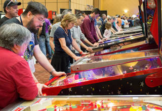 Visitors to the Texas Pinball Festival 2017