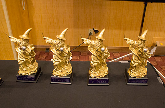 Trophies for the various divisions of play