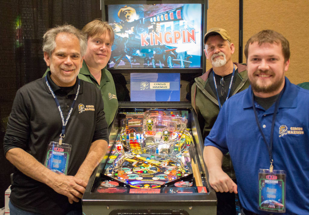 James, Paul, Mark and Jimmy with the new Kingpin game