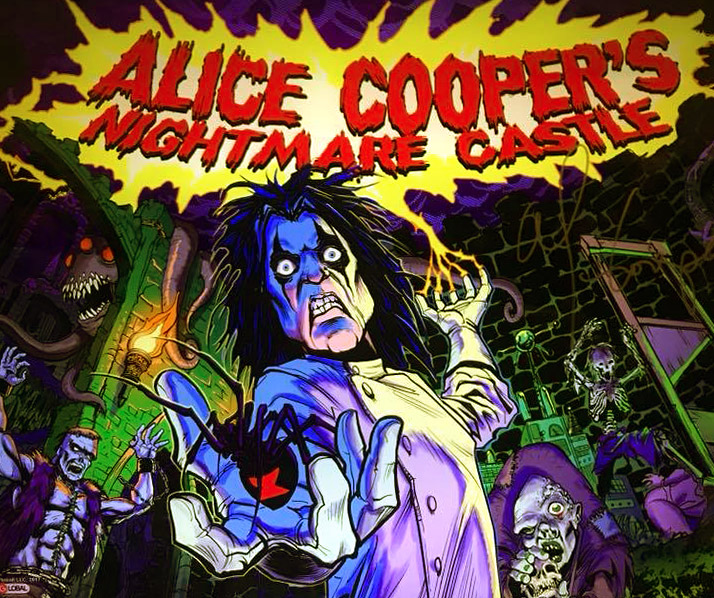 The translite artwork for Alice Cooper's Nightmare Castle