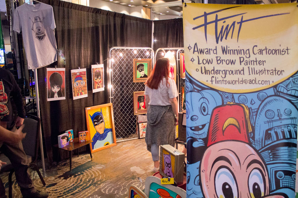 Artist Flint had a display of character-based artwork for sale or to take commissions
