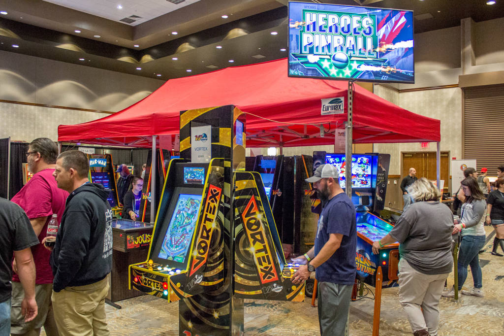 Video continued with the large VPcabs display of video pinball machines