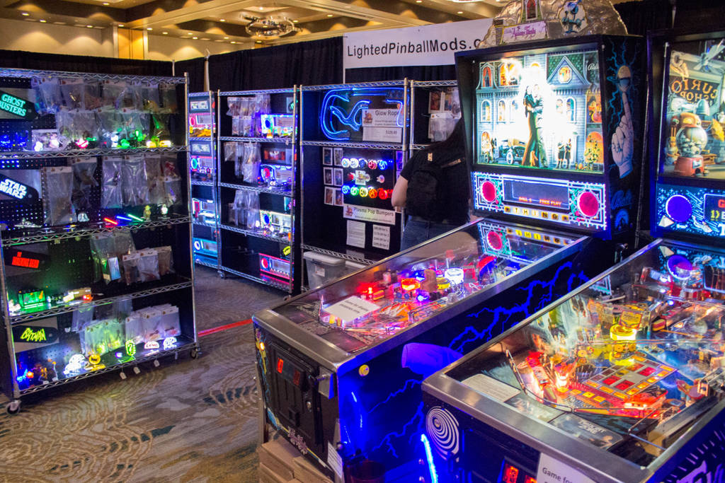 Lighted Pinball Mods' stand really stood out in the darkened hall