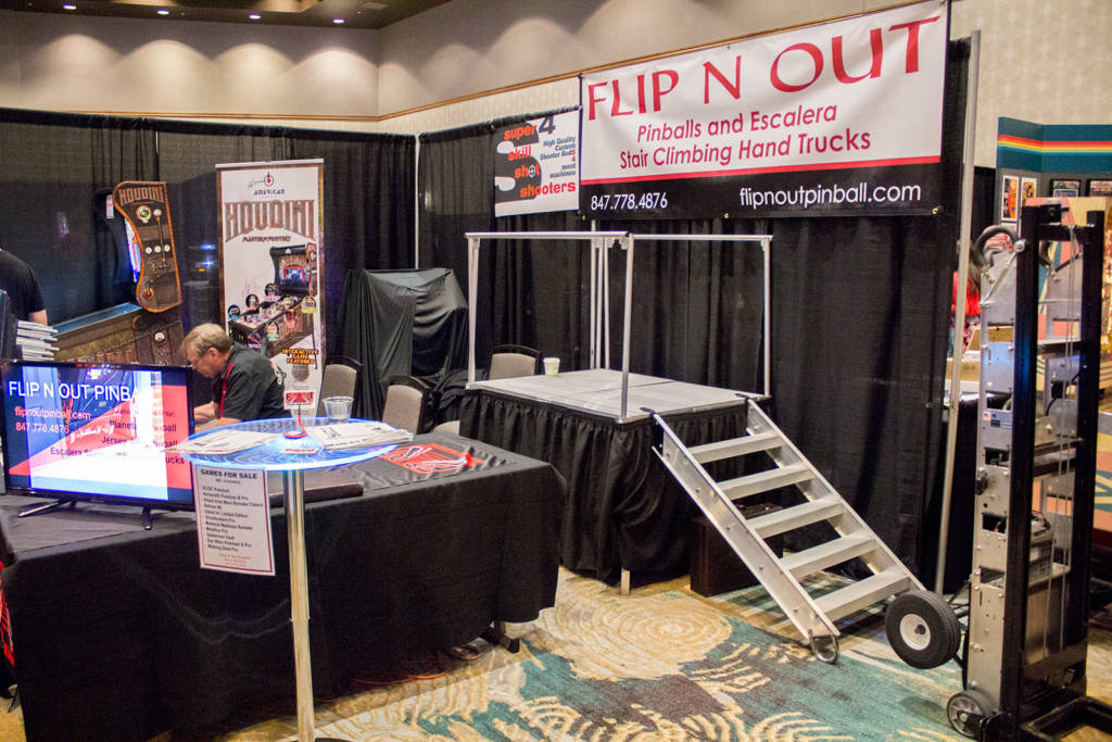 Flip N Out had their Escalera stair-climbing pinball movers on display