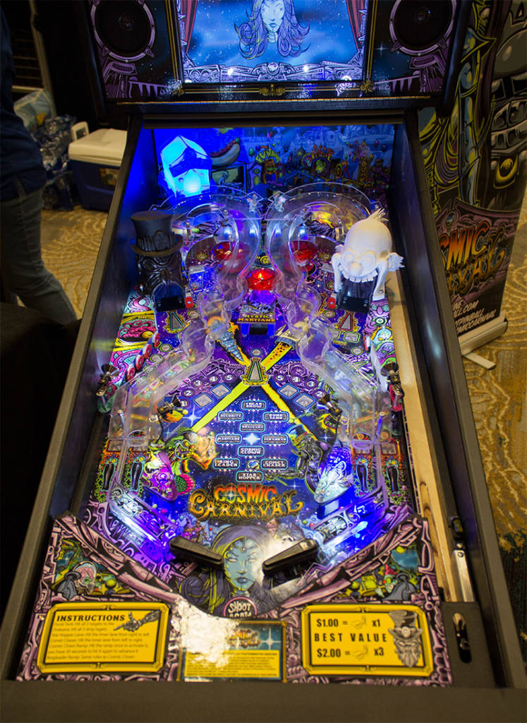 The playfield from Cosmic Carnival by Suncoast Pinball