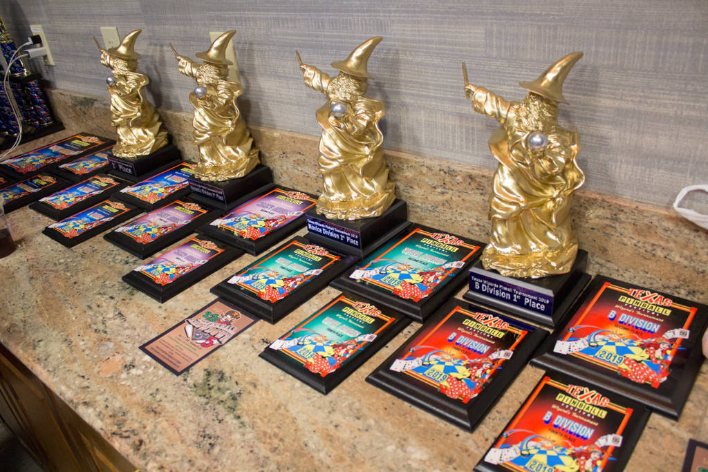 Trophies and plaques for the various tournaments