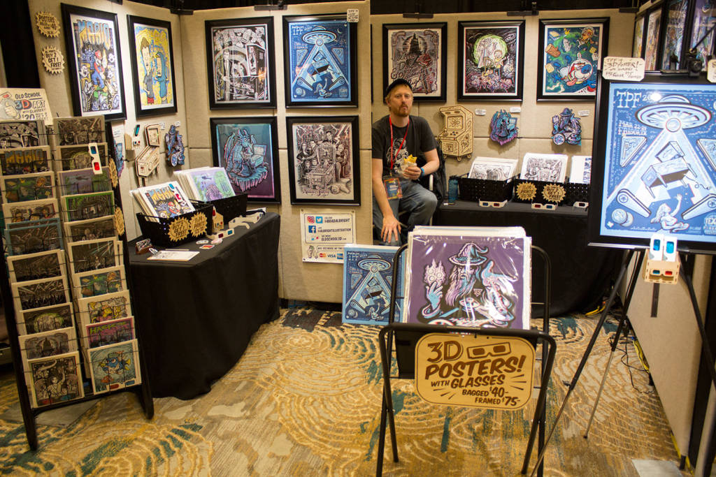 Artist Brad Albright had a stand showing his creations