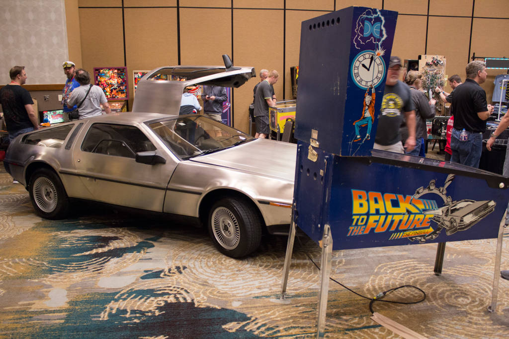 This DeLorean and Back to the Future pinball were on Rusty Key's Key Arcades stand
