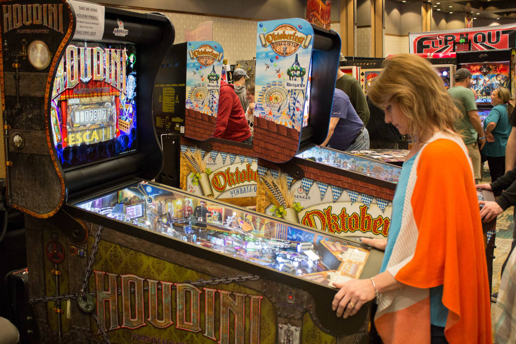 American Pinball brought four Oktoberfest and one Houdini games for their stand