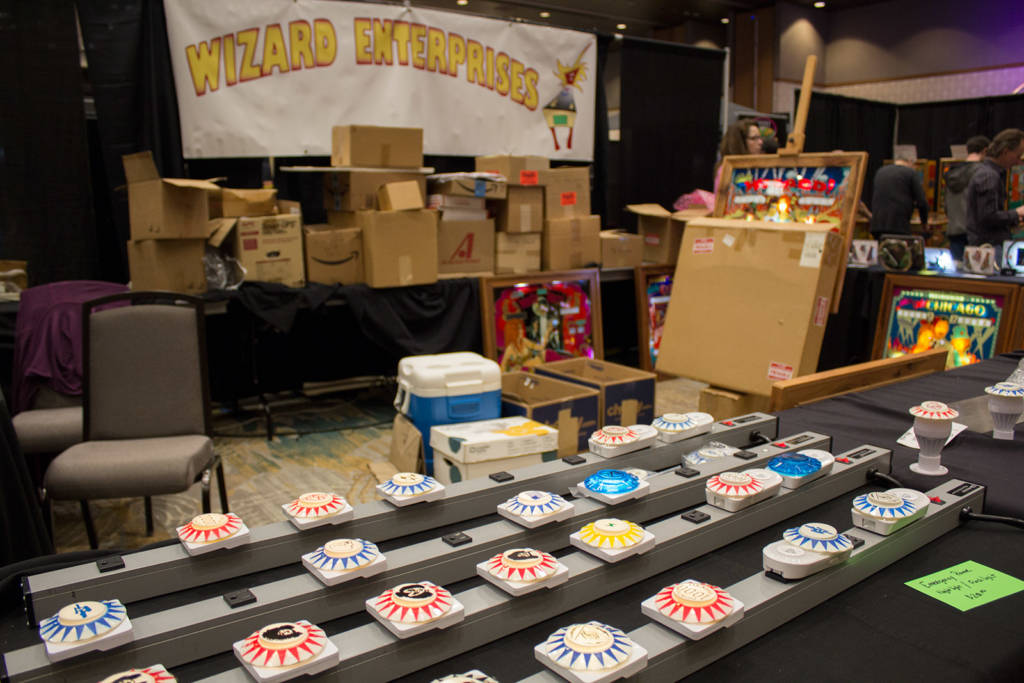 Wizard Enterprises had their pinball nightlights and more on their stand