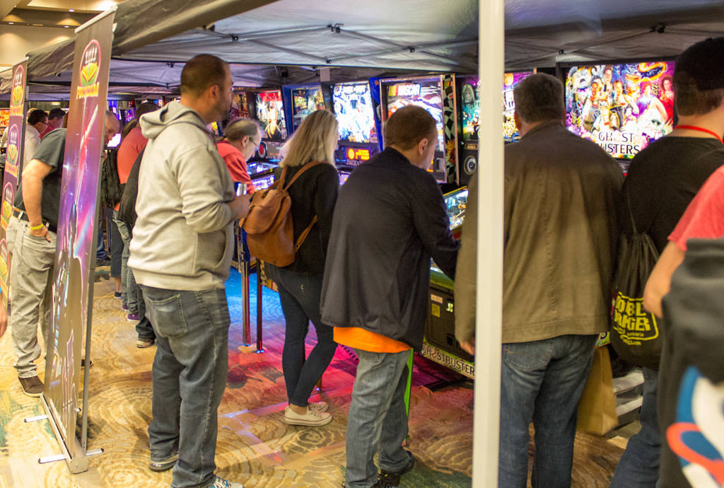 Pin Stadium's pinball lighting was being demonstrated on a long row of machines